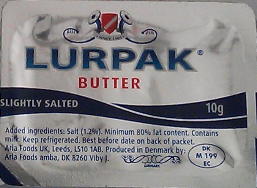 Lurpak butter - 10g single portions - SHORT DATED