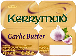 Kerrymaid Garlic Butter - single portions - 4 x 20g catering - butter portions